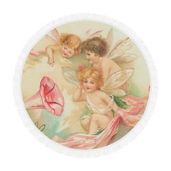 "Vintage valentine cupid angel hear love songs Circular Beach Shawl 59""x 59"""