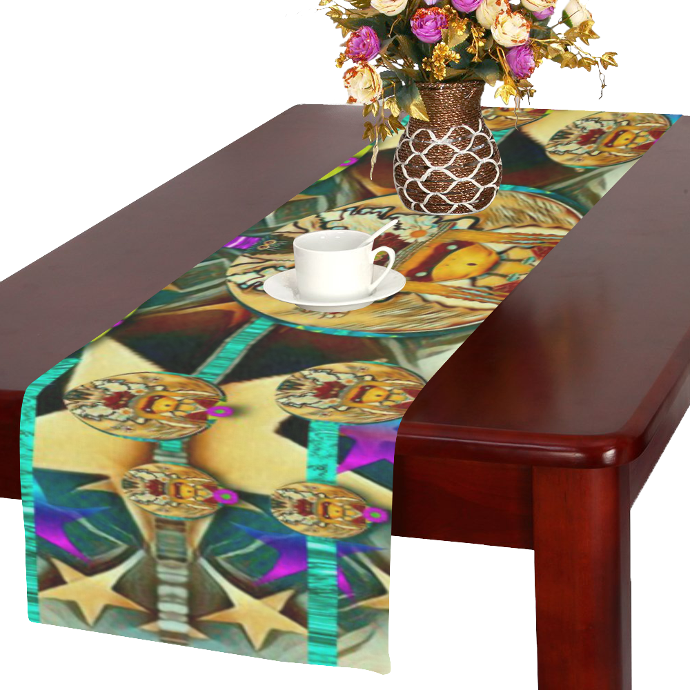 lady with bat and hat Table Runner 16x72 inch