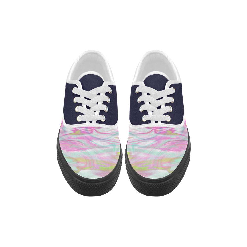 Pastel Iridescent Marble Waves Pattern Aries Men's Canvas Shoes (Model 029)