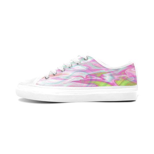 Pastel Iridescent Marble Waves Pattern Women's Canvas Zipper Shoes (Model 001)
