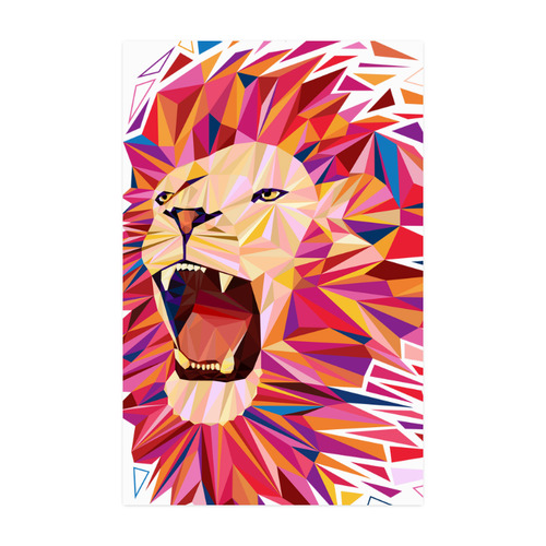 """lion roaring polygon triangles Poster 22""""x34"""""""