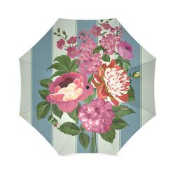 Vintage Beautiful Pink Floral Teal Stripes Foldable Umbrella (Model U01)