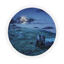 "Brown Bear Walking Among White Sharp Stones Circular Beach Shawl 59""x 59"""