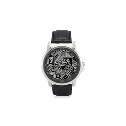Optical Illusion, Black and White Art Unisex Stainless Steel Leather Strap Watch(Model 202)