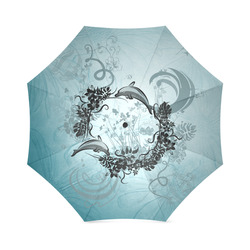 Jumping dolphin with flowers Foldable Umbrella (Model U01)