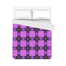 """Purple and Black Geometric Pattern Duvet Cover 86""""x70"""" ( All-over-print)"""