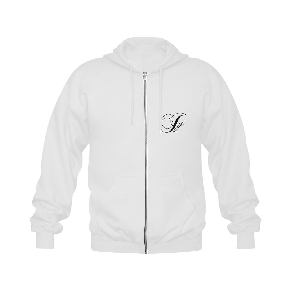 Alphabet J - Jera Nour Gildan Full Zip Hooded Sweatshirt (Model H02)