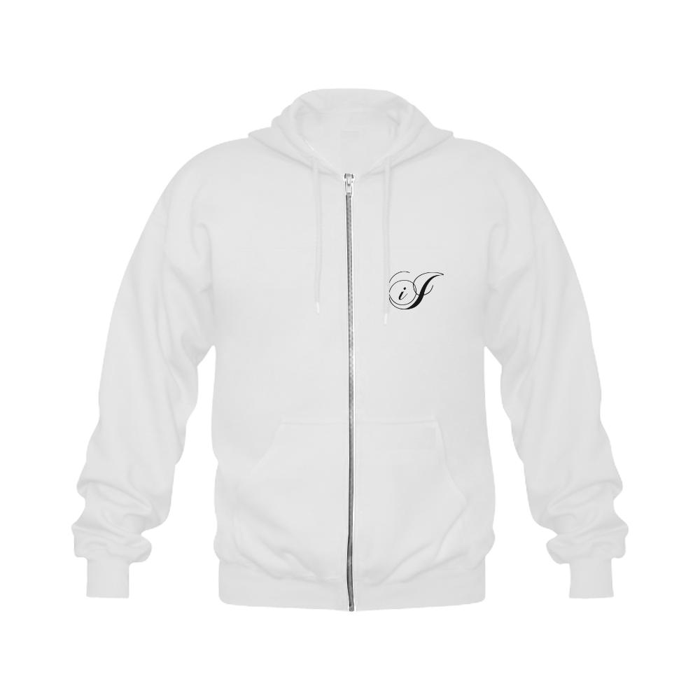 Alphabet I - Jera Nour Gildan Full Zip Hooded Sweatshirt (Model H02)