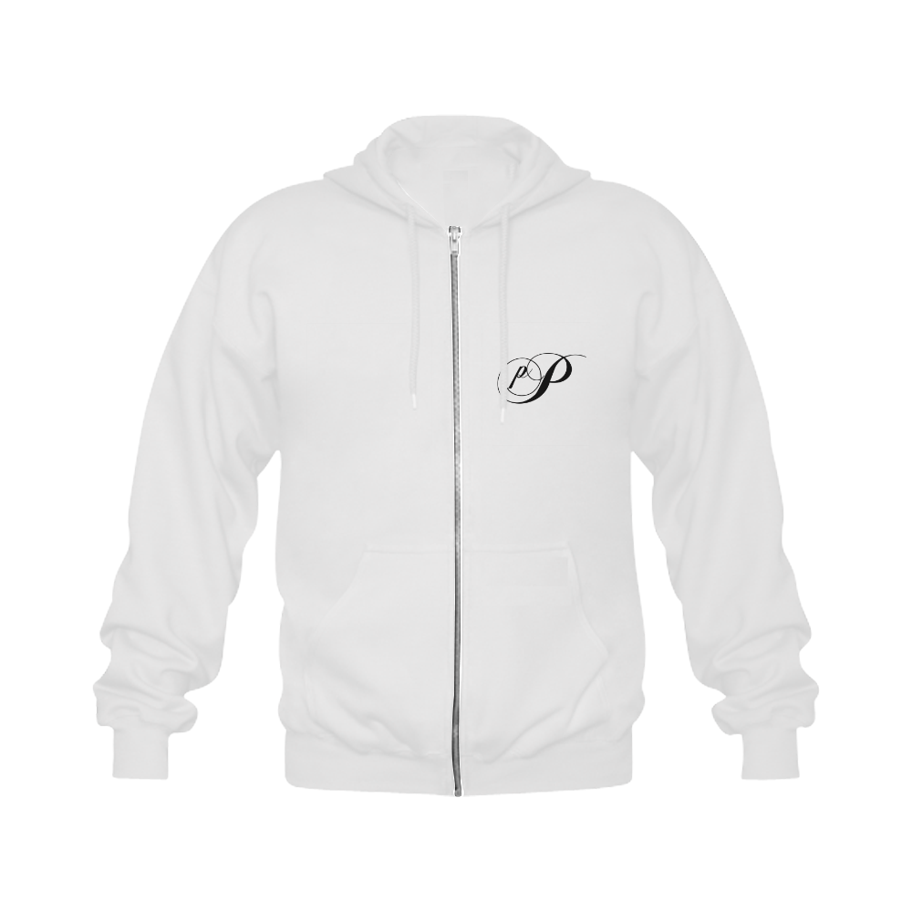 Alphabet P - Jera Nour Gildan Full Zip Hooded Sweatshirt (Model H02)