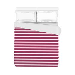 """Cerise Stripes Duvet Cover 86""""x70"""" ( All-over-print)"""