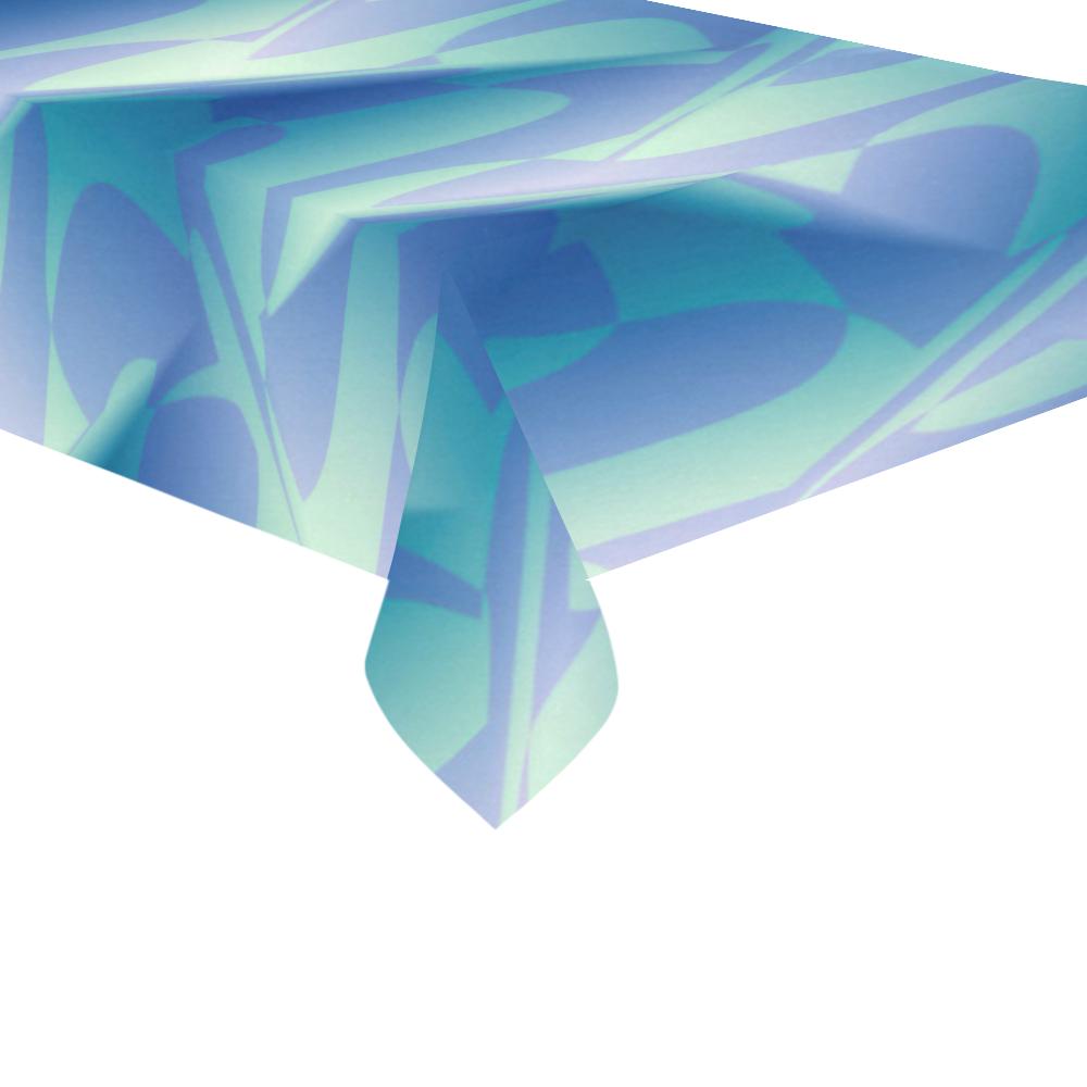 """Subtle Blue Cubik - Jera Nour Cotton Linen Tablecloth 60""""x 104"""""""