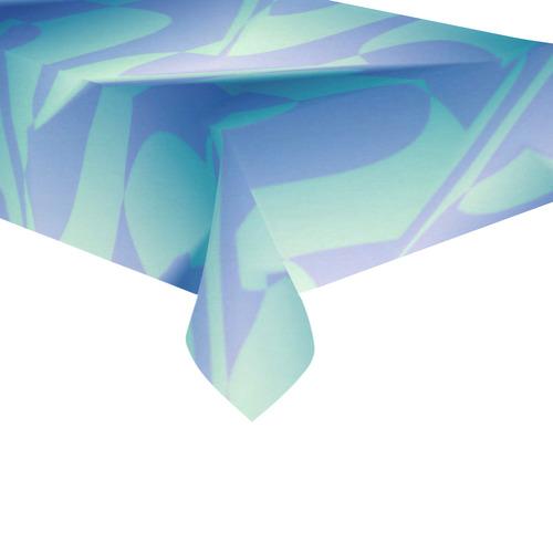 """Subtle Blue Cubik - Jera Nour Cotton Linen Tablecloth 60""""x120"""""""