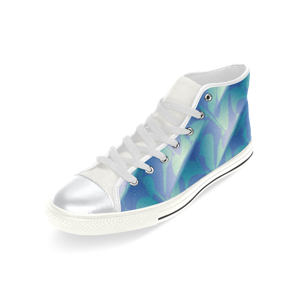 Subtle Blue Cubik - Jera Nour High Top Canvas Women's Shoes/Large Size (Model 017)