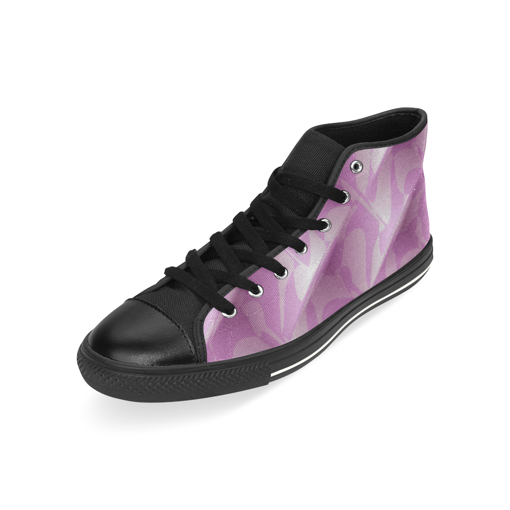 Subtle Light Purple Cubik - Jera Nour High Top Canvas Women's Shoes/Large Size (Model 017)