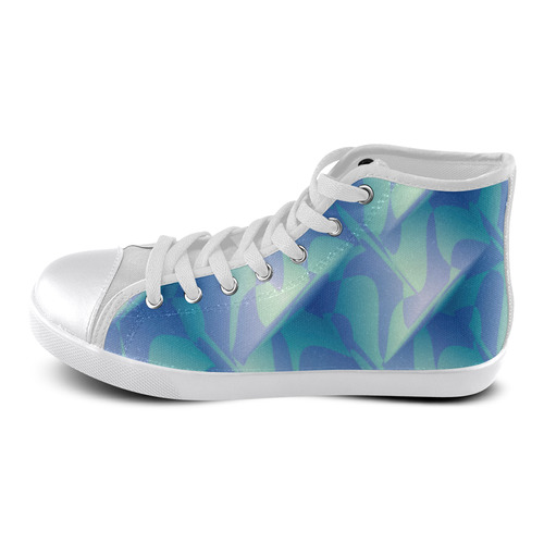 Subtle Blue Cubik - Jera Nour High Top Canvas Women's Shoes/Large Size (Model 002)