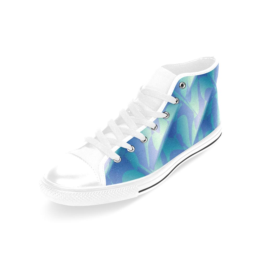 Subtle Blue Cubik - Jera Nour Men's Classic High Top Canvas Shoes /Large Size (Model 017)