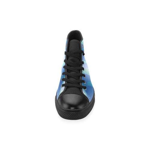 Subtle Blue Cubik - Jera Nour High Top Canvas Women's Shoes/Large Size (Model 017)