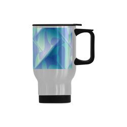 Subtle Blue Cubik - Jera Nour Travel Mug (Silver) (14 Oz)