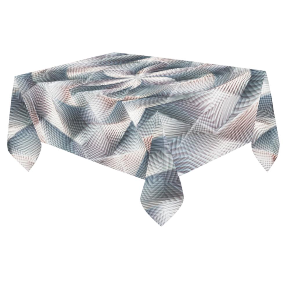 """Metallic Petals - Jera Nour Cotton Linen Tablecloth 60""""x 84"""""""