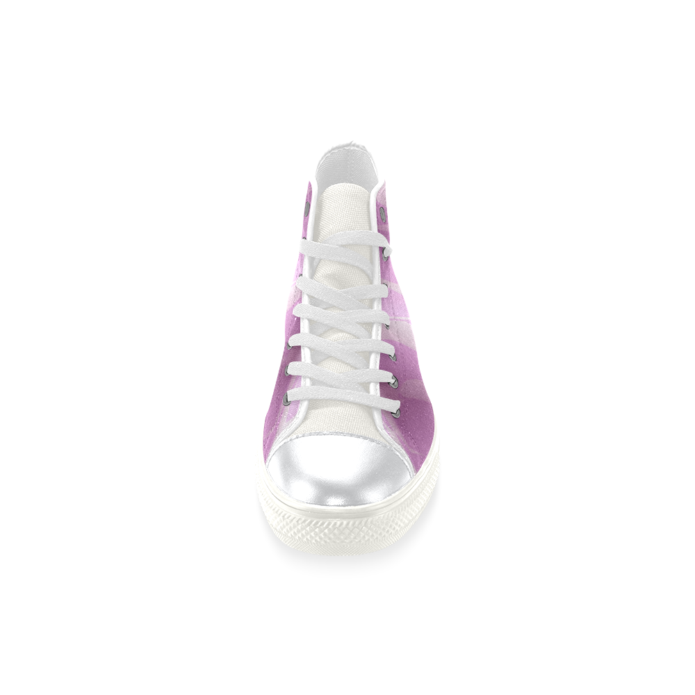 Subtle Light Purple Cubik - Jera Nour High Top Canvas Women's Shoes/Large Size (Model 017)