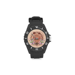 Awesome skulls with flowres Sport Rubber Strap Watch(Model 301)