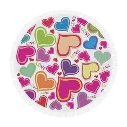 "cute hearts background Circular Beach Shawl 59""x 59"""