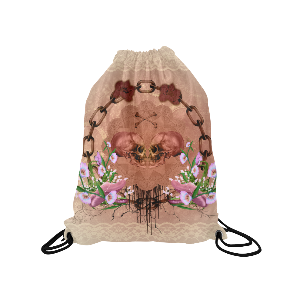 "Awesome skulls with flowres Medium Drawstring Bag Model 1604 (Twin Sides) 13.8""(W) * 18.1""(H)"