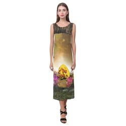 Easter time, easter egg Phaedra Sleeveless Open Fork Long Dress (Model D08)
