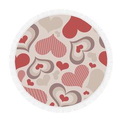 """Cute Hearts Circular Beach Shawl 59""""x 59"""""""