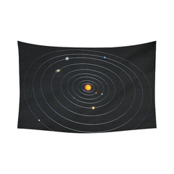 "Our Solar System Cotton Linen Wall Tapestry 90""x 60"""