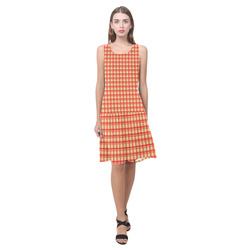 checkered Fabric red by FeelGood Sleeveless Splicing Shift Dress(Model D17)