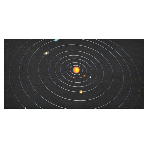 "Our Solar System Cotton Linen Tablecloth 60""x120"""