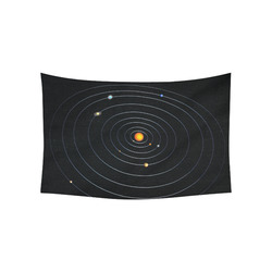 """Our Solar System Cotton Linen Wall Tapestry 60""""x 40"""""""