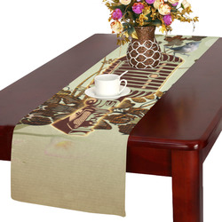 Music, microphone with cute bird Table Runner 14x72 inch
