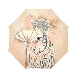 Vintage japanese beautiful geisha girl Auto-Foldable Umbrella (Model U04)