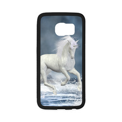 A white Unicorn wading in the water Rubber Case for Samsung Galaxy S6 Edge