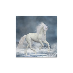"""A white Unicorn wading in the water Canvas Print 16""""x16"""""""