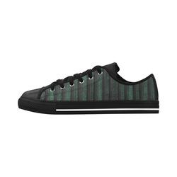 Trendy dark green leather look lines Aquila Microfiber Leather Women's Shoes (Model 028)