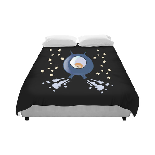 """Hedgehog in space. spacecraft. Duvet Cover 86""""x70"""" ( All-over-print)"""