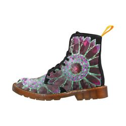 Red Mosaic Flower Martin Boots For Women Model 1203H