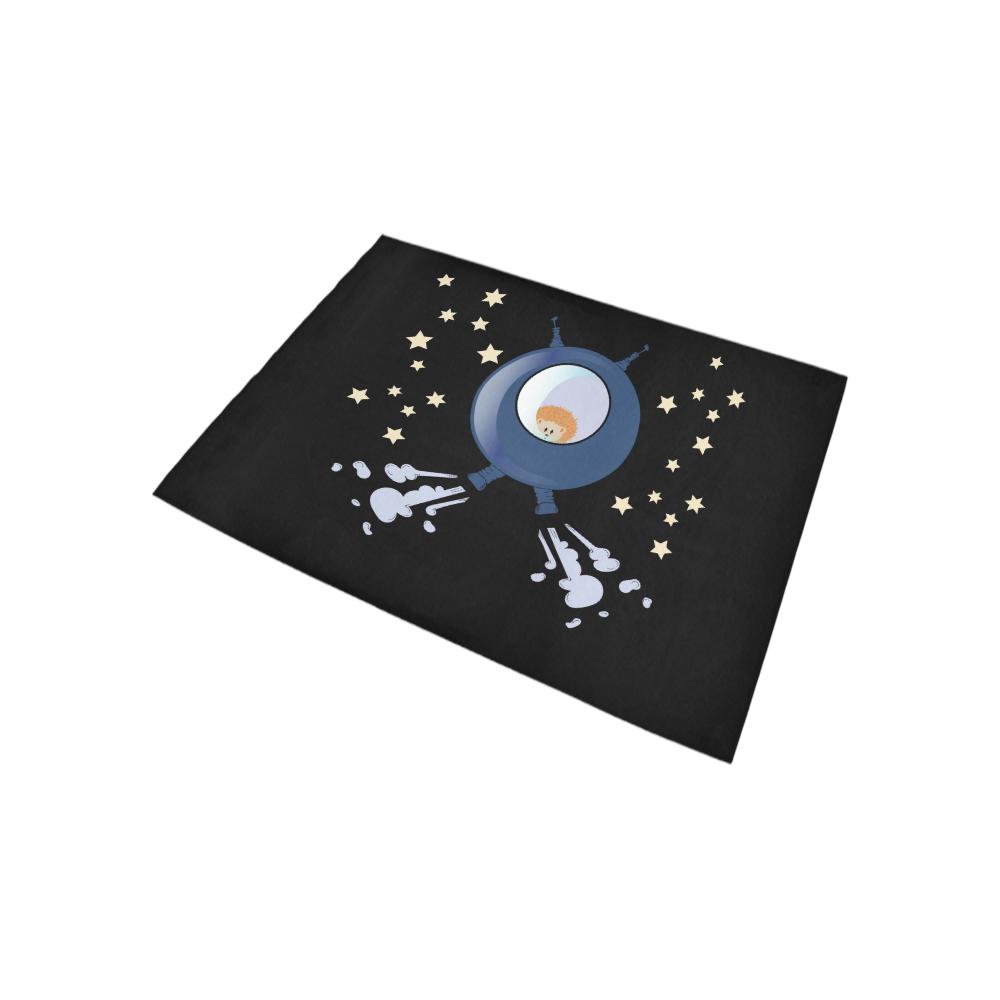 Hedgehog in space. spacecraft. Area Rug 5'3''x4'