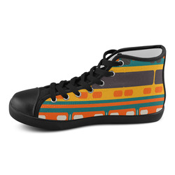 Rectangles in retro colors texture Men's High Top Canvas Shoes (Model 002)