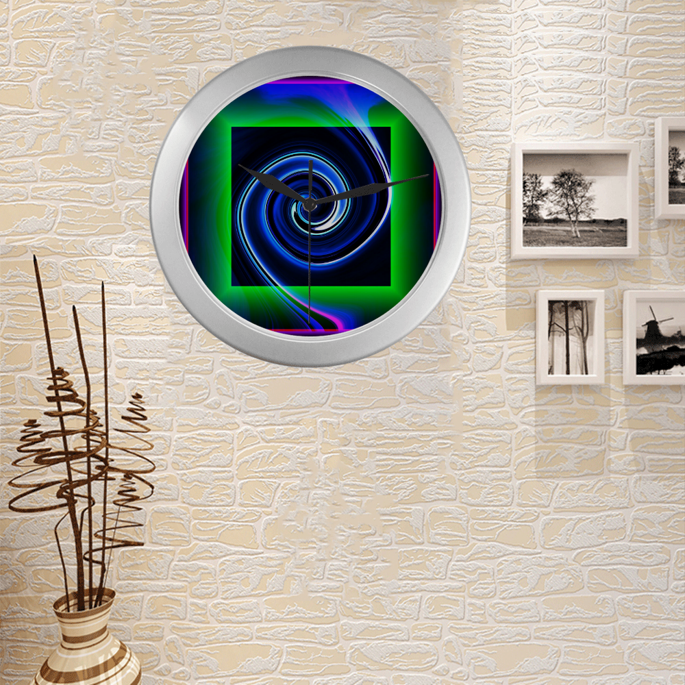 Dance in Neon - Jera Nour Silver Color Wall Clock