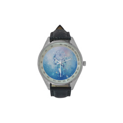 A wounderful dream catcher in blue Men's Leather Strap Analog Watch(Model 209)