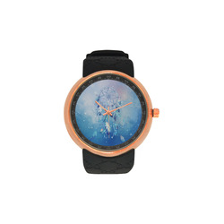 A wounderful dream catcher in blue Men's Rose Gold Resin Strap Watch(Model 308)