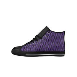 Gothic style Purple & Black Skulls Aquila High Top Microfiber Leather Women's Shoes (Model 027)