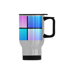 Gradient squares pattern Travel Mug (Silver) (14 Oz)
