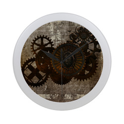 A rusty steampunk letter with gears Circular Plastic Wall clock