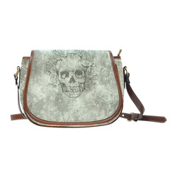 scratchy skull with roses B by JamColors Saddle Bag/Small (Model 1649) Full Customization