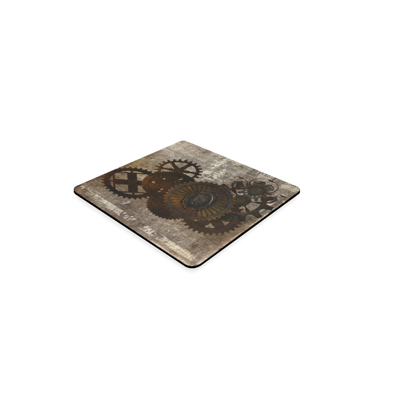 A rusty steampunk letter with gears Square Coaster